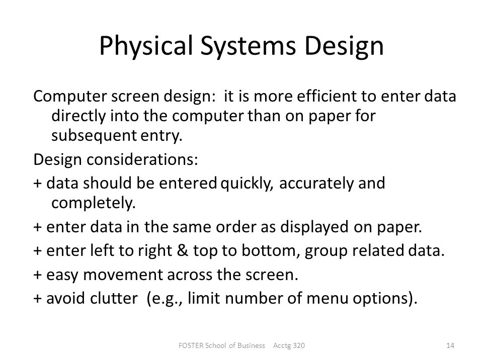 Physical Systems Design