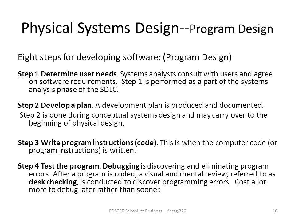 Physical Systems Design--Program Design