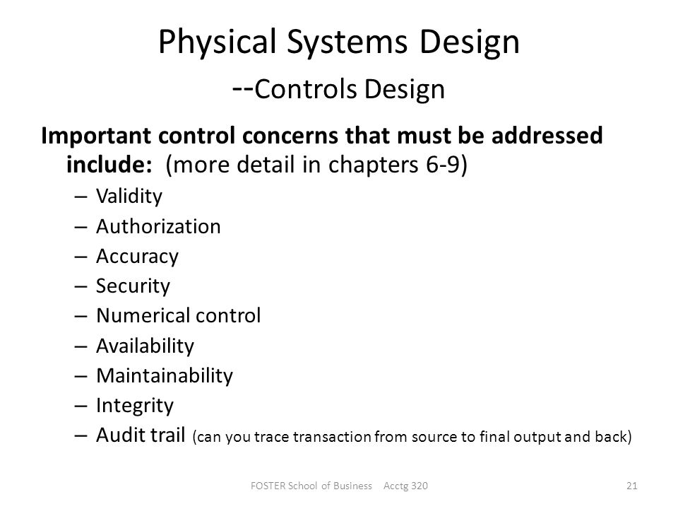 Physical Systems Design --Controls Design
