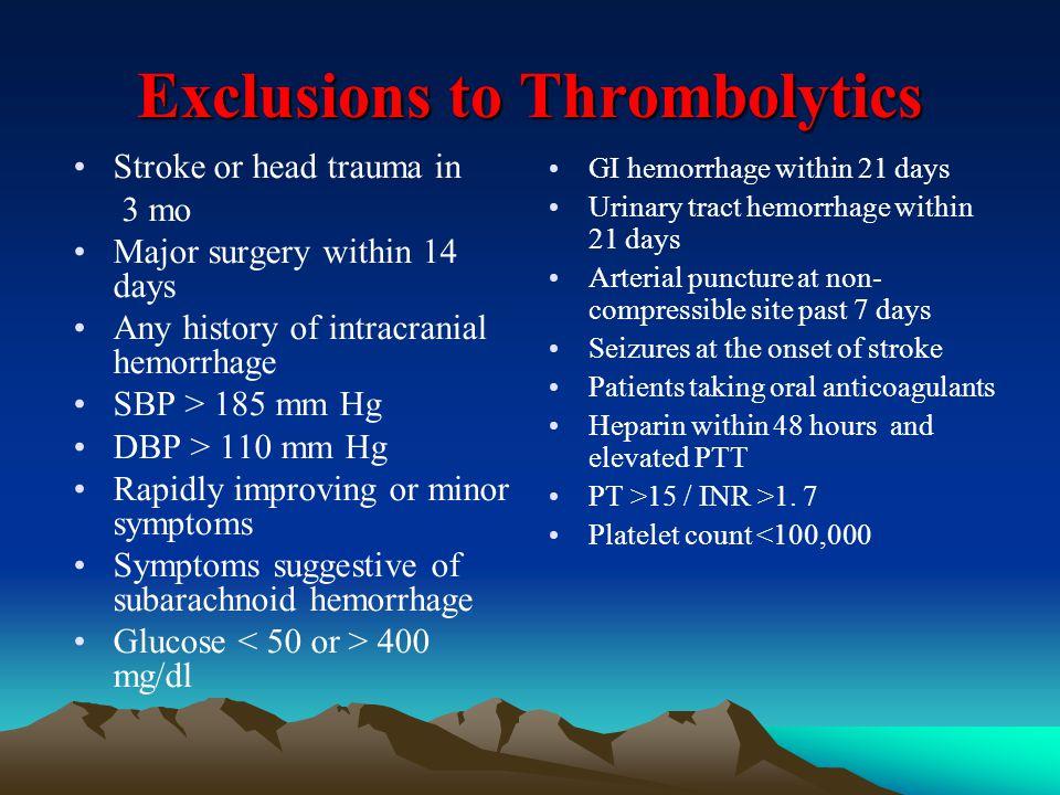 Exclusions to Thrombolytics