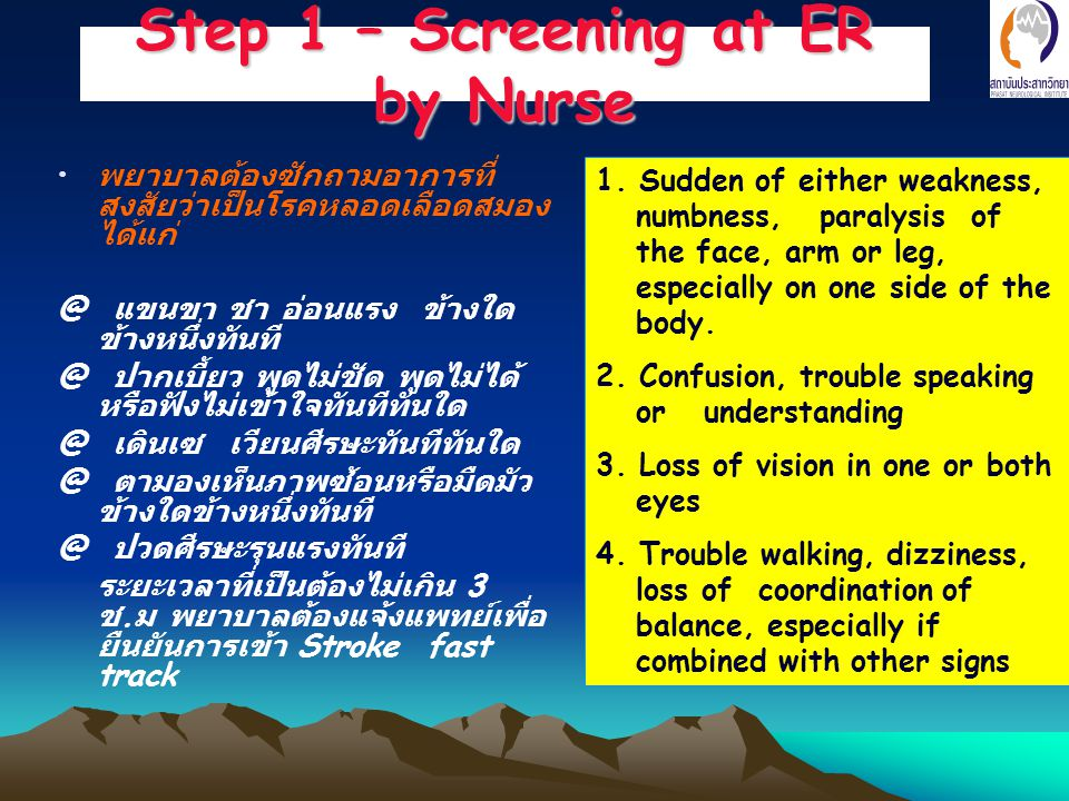 Step 1 – Screening at ER by Nurse