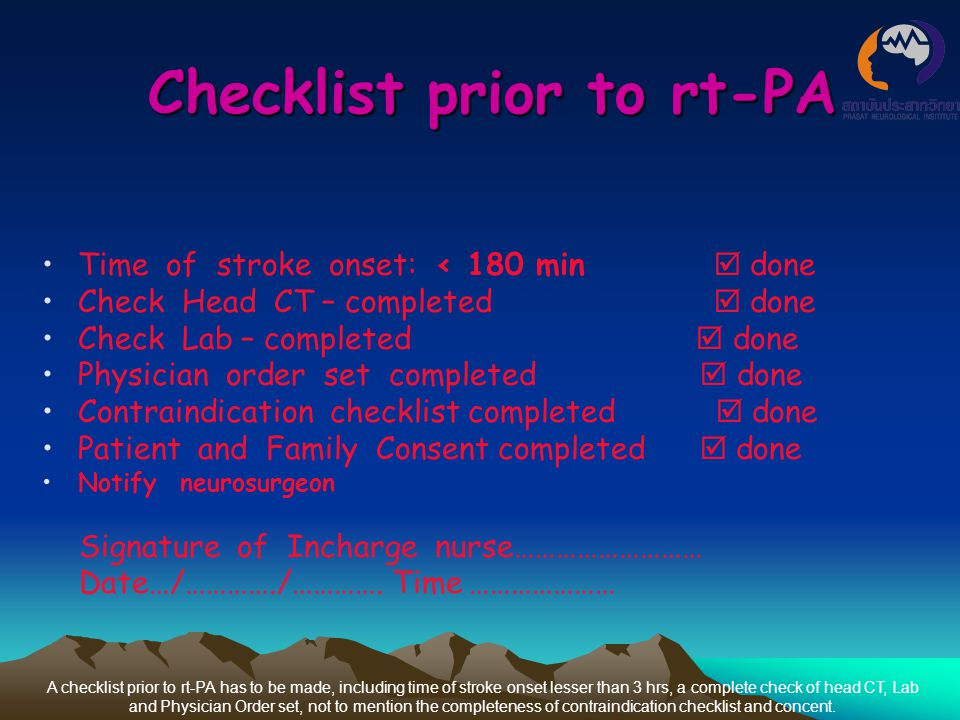Checklist prior to rt-PA