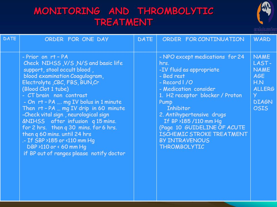 MONITORING AND THROMBOLYTIC TREATMENT
