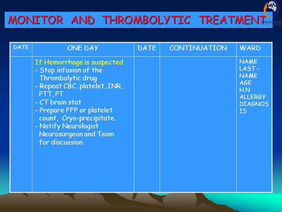 MONITOR AND THROMBOLYTIC TREATMENT