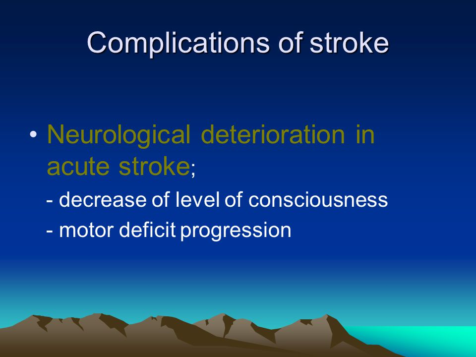 Complications of stroke