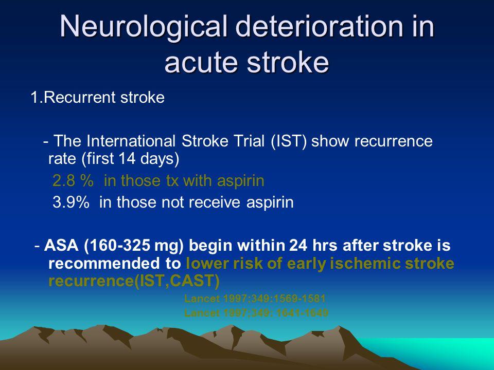 Neurological deterioration in acute stroke