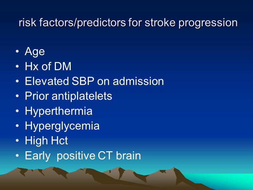 risk factors/predictors for stroke progression