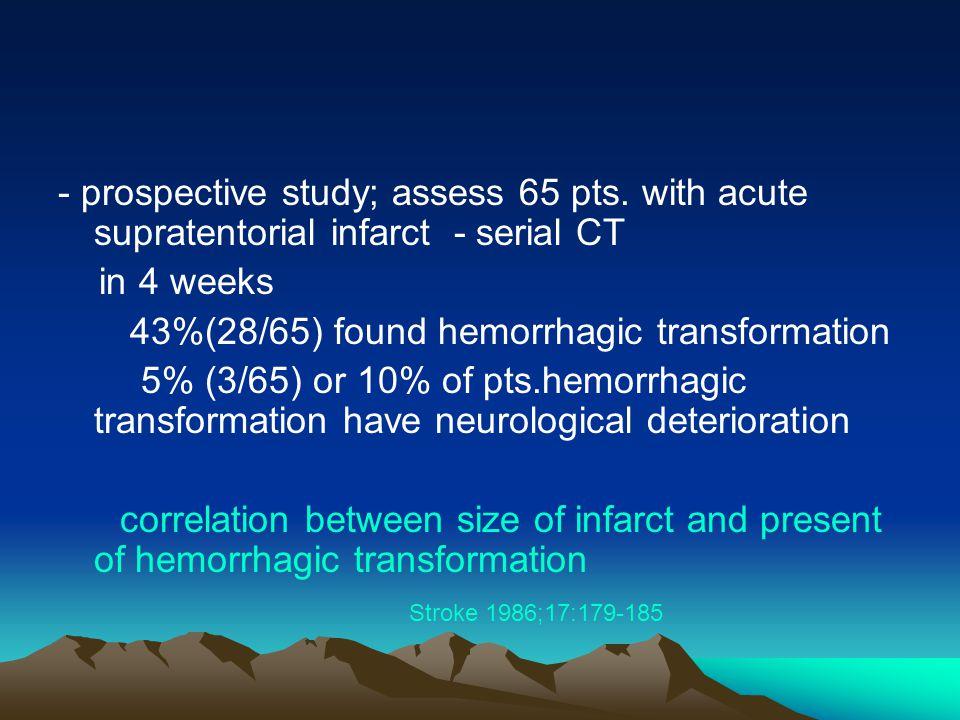 - prospective study; assess 65 pts