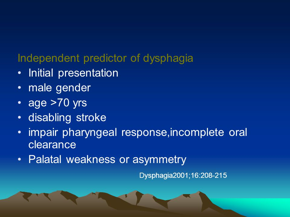 Independent predictor of dysphagia