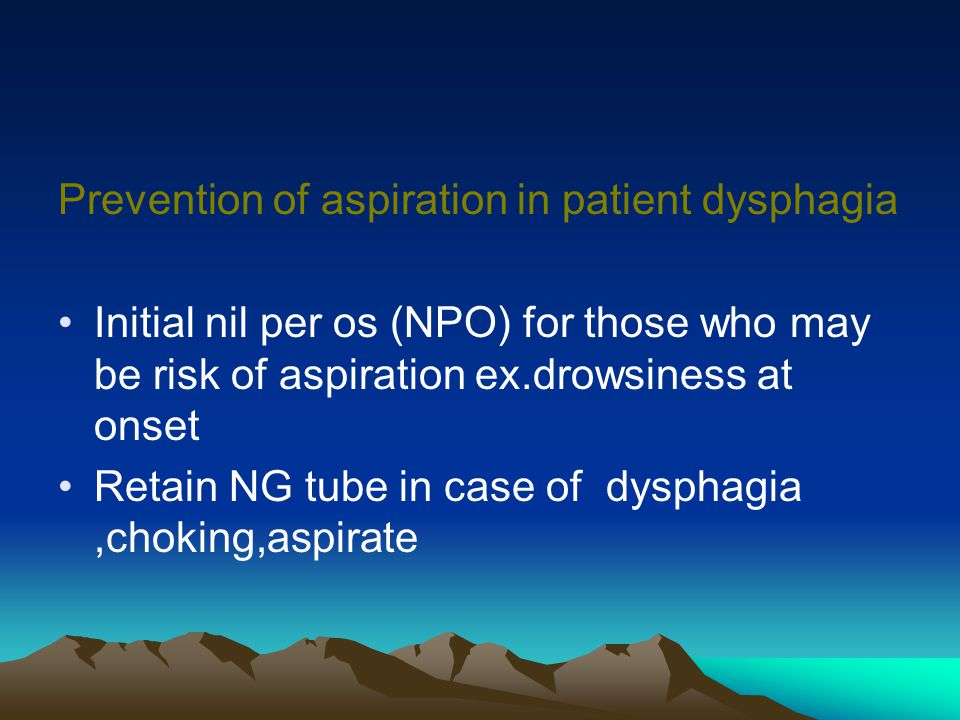 Prevention of aspiration in patient dysphagia