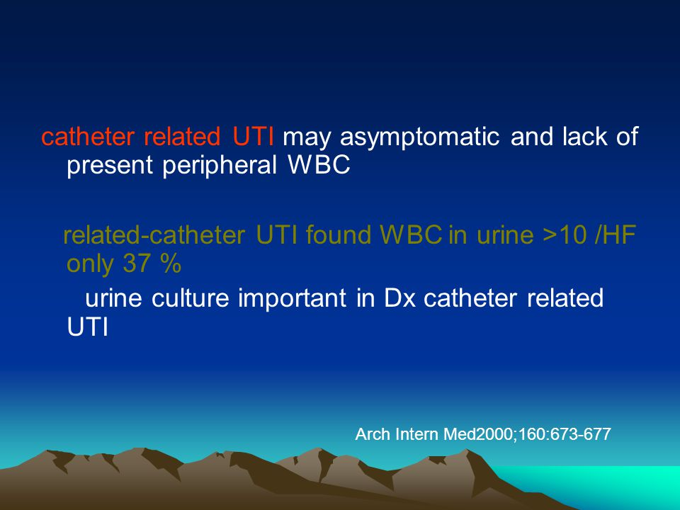 catheter related UTI may asymptomatic and lack of present peripheral WBC
