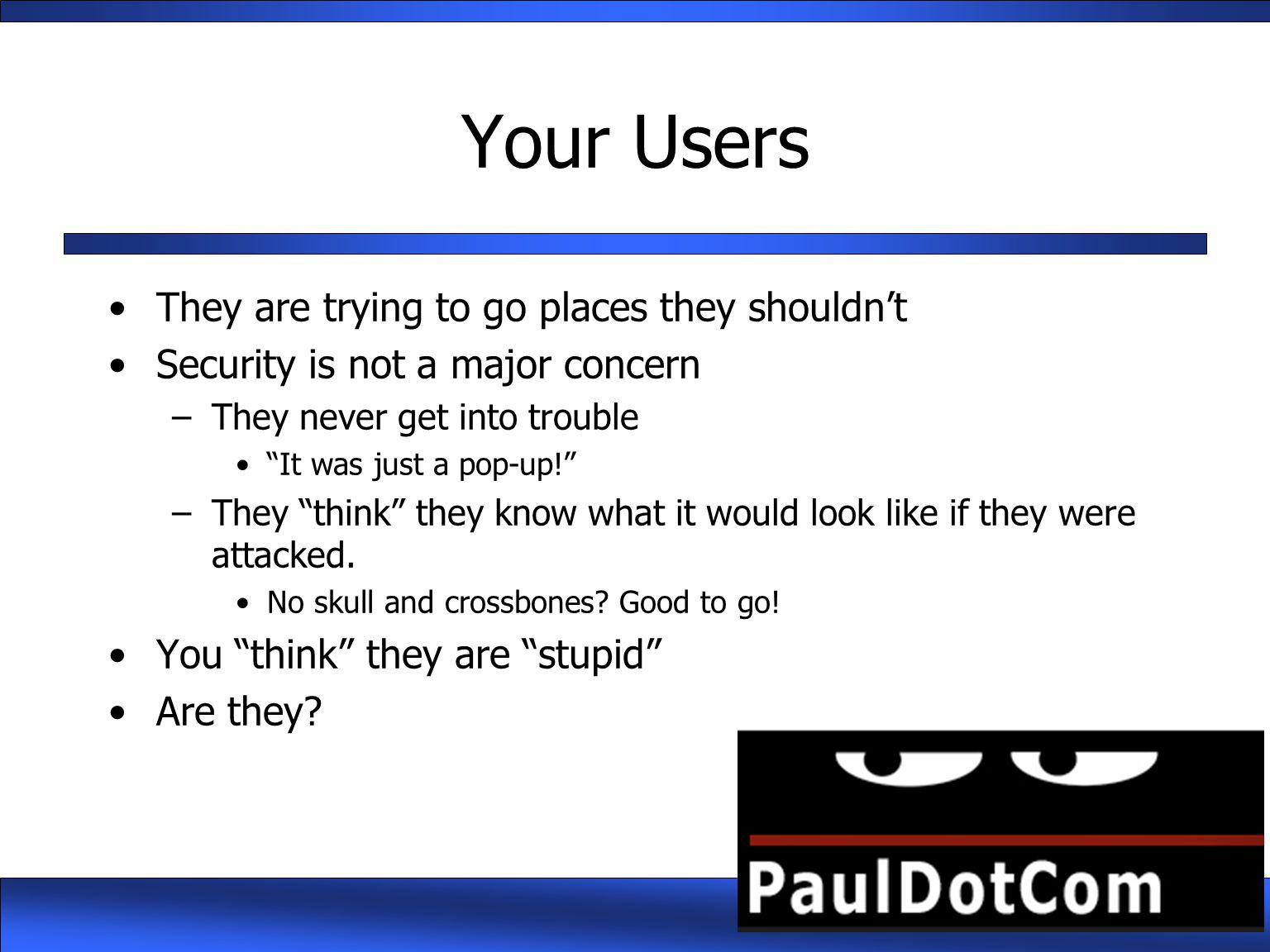 Your Users They are trying to go places they shouldn't