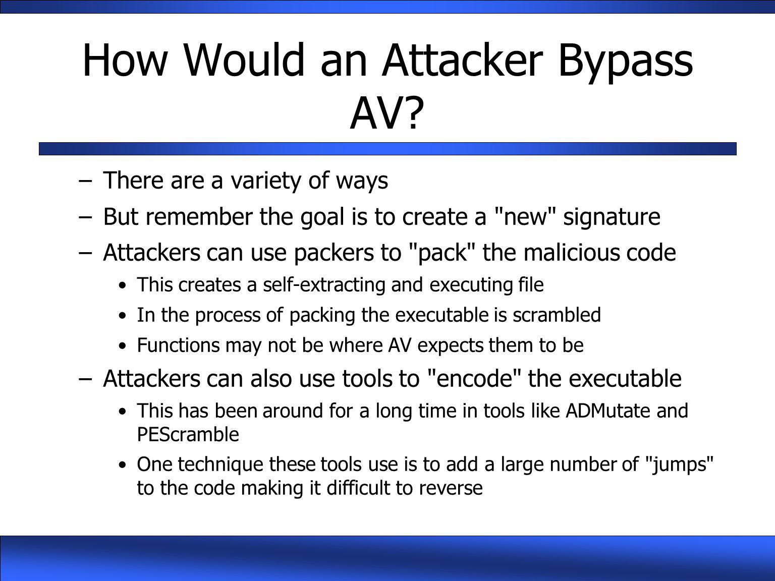 How Would an Attacker Bypass AV