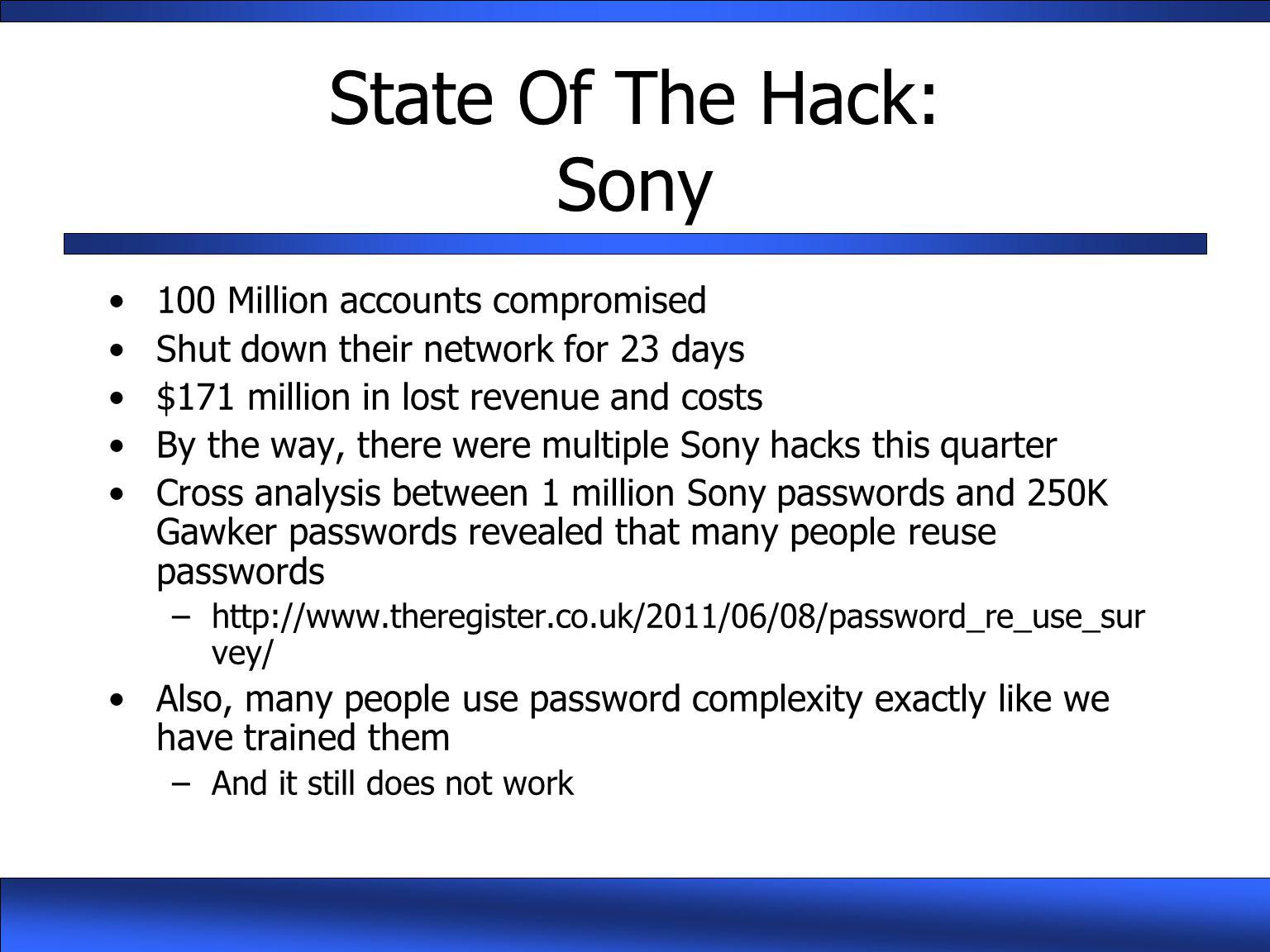 State Of The Hack: Sony 100 Million accounts compromised
