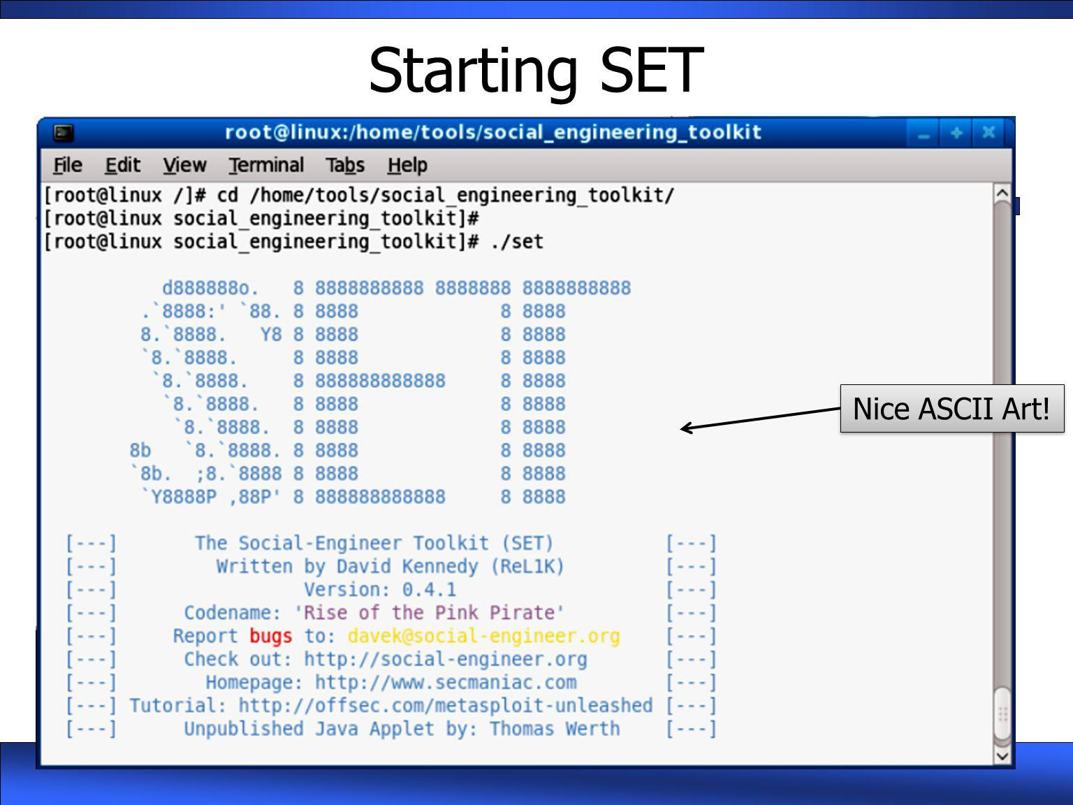 Starting SET Nice ASCII Art!