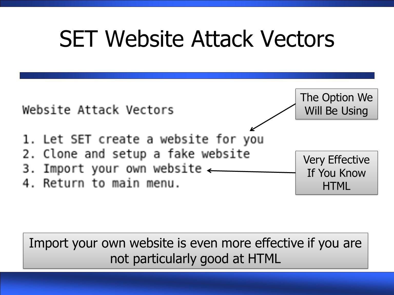 SET Website Attack Vectors