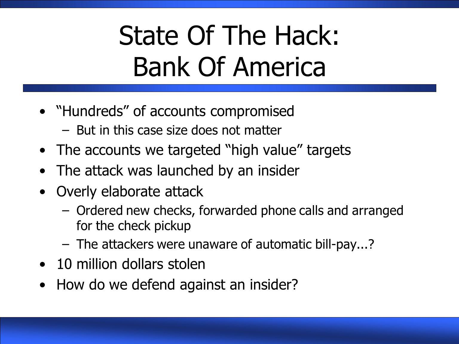 State Of The Hack: Bank Of America