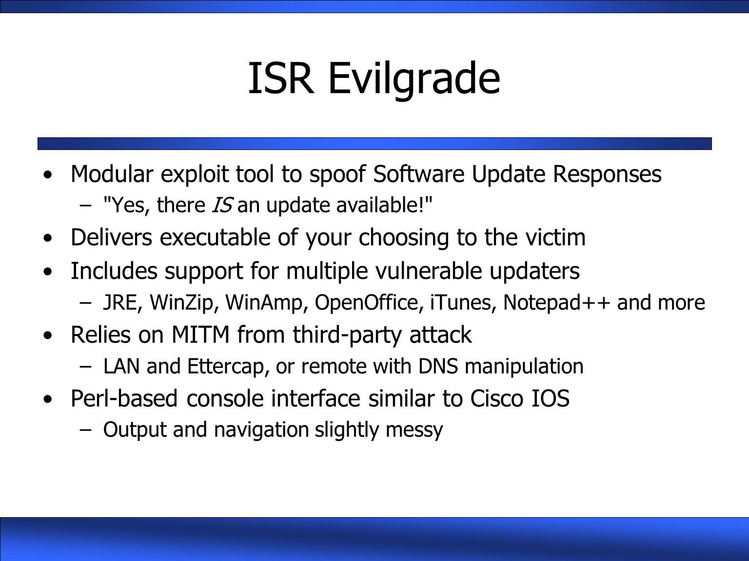 ISR Evilgrade Modular exploit tool to spoof Software Update Responses
