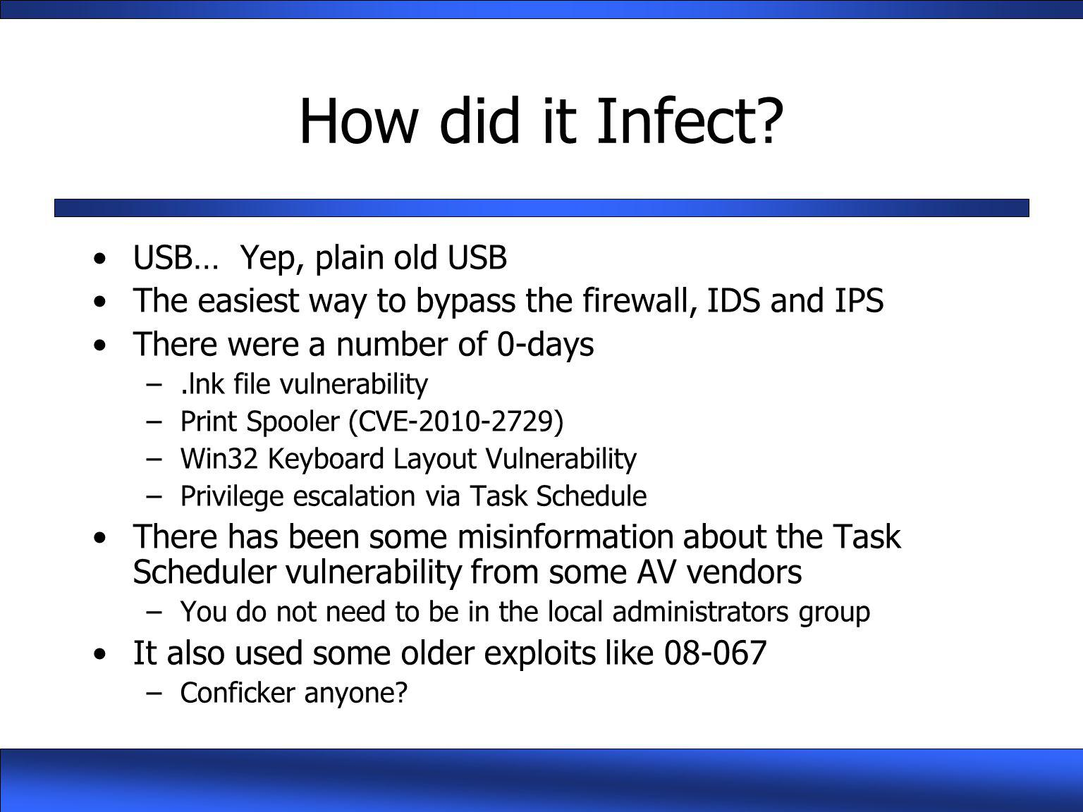 How did it Infect USB… Yep, plain old USB