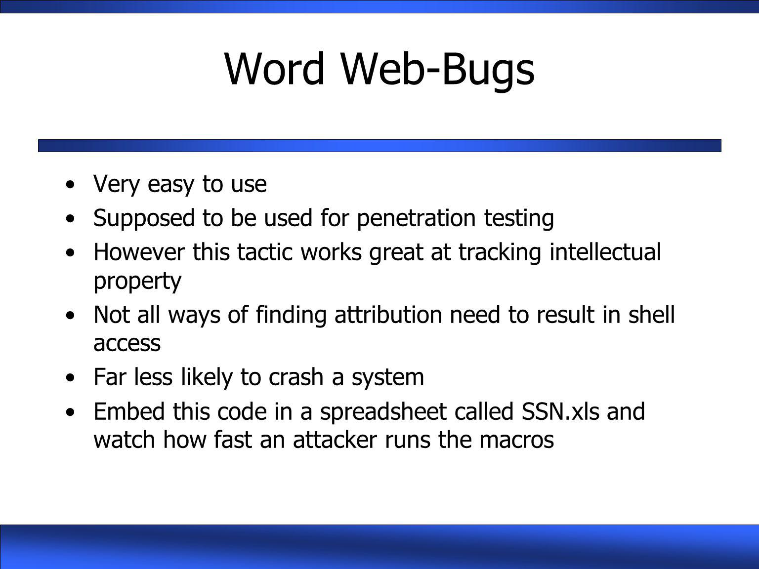 Word Web-Bugs Very easy to use