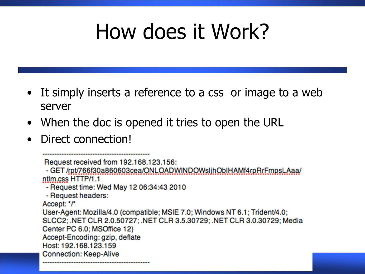 How does it Work It simply inserts a reference to a css or image to a web server. When the doc is opened it tries to open the URL.