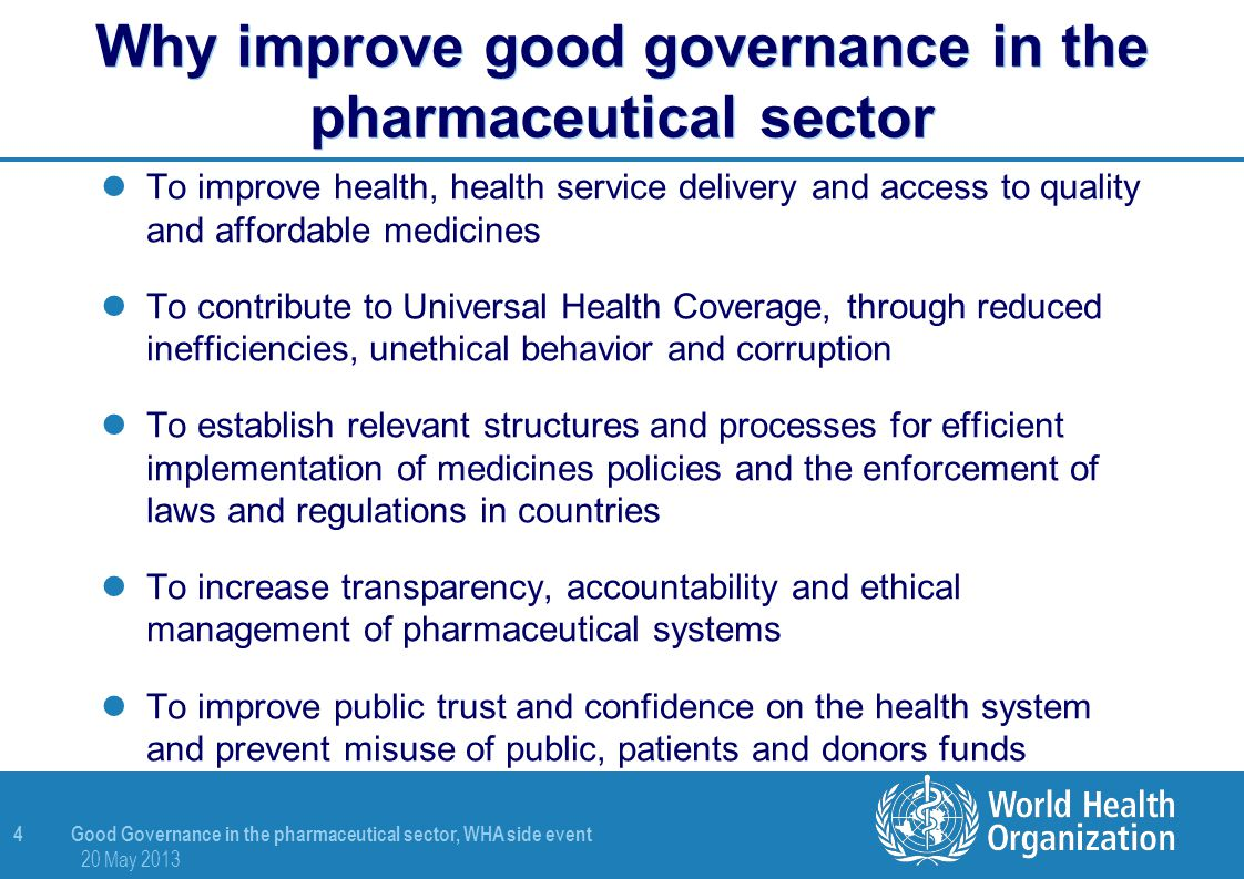 Why improve good governance in the pharmaceutical sector
