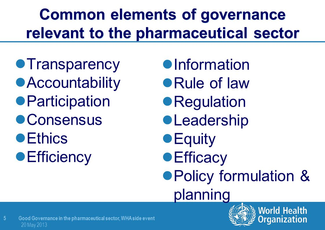 Common elements of governance relevant to the pharmaceutical sector