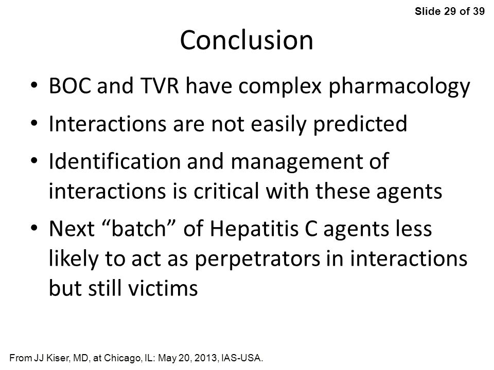 Conclusion BOC and TVR have complex pharmacology