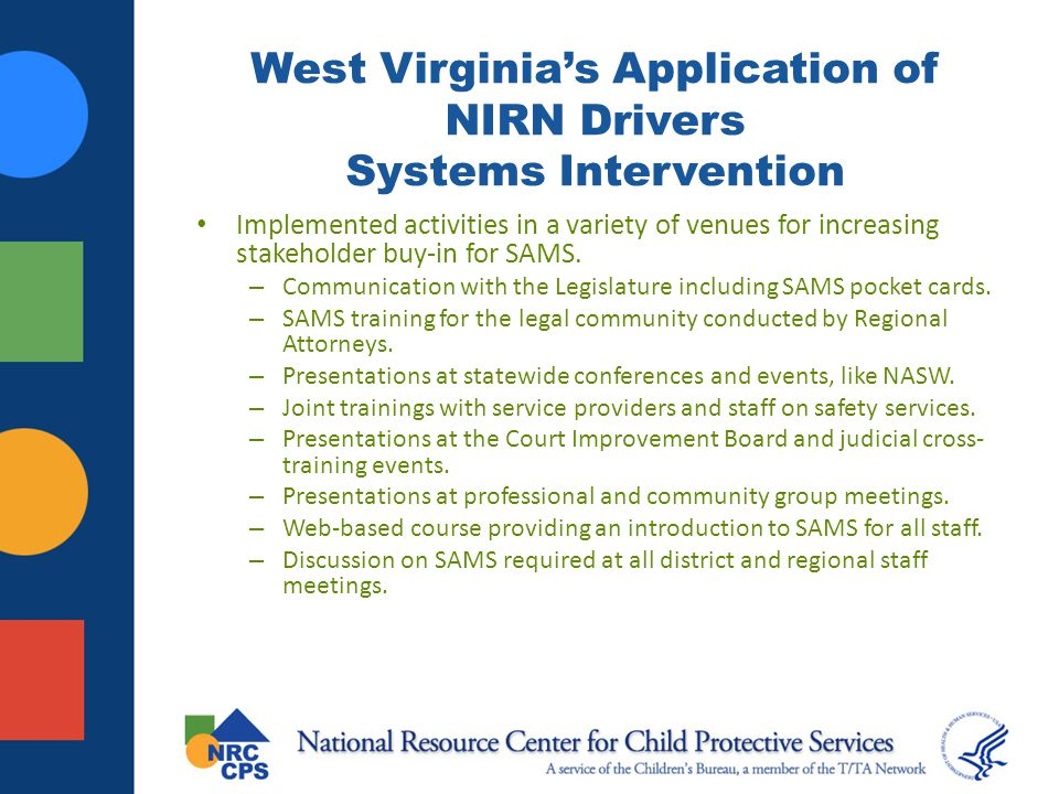 West Virginia's Application of NIRN Drivers Systems Intervention