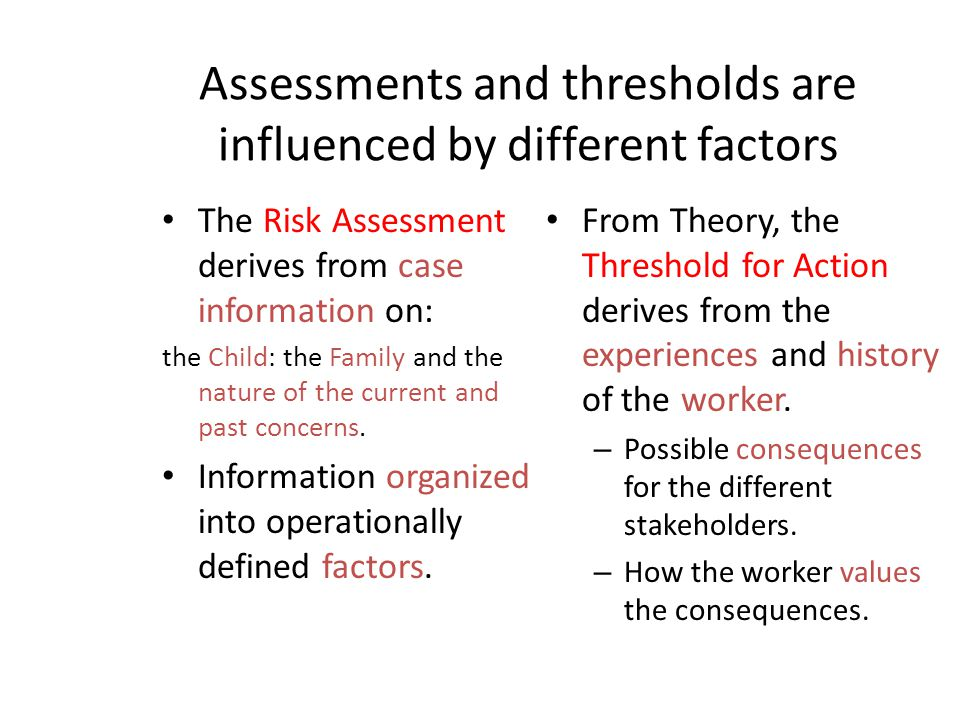 Assessments and thresholds are influenced by different factors