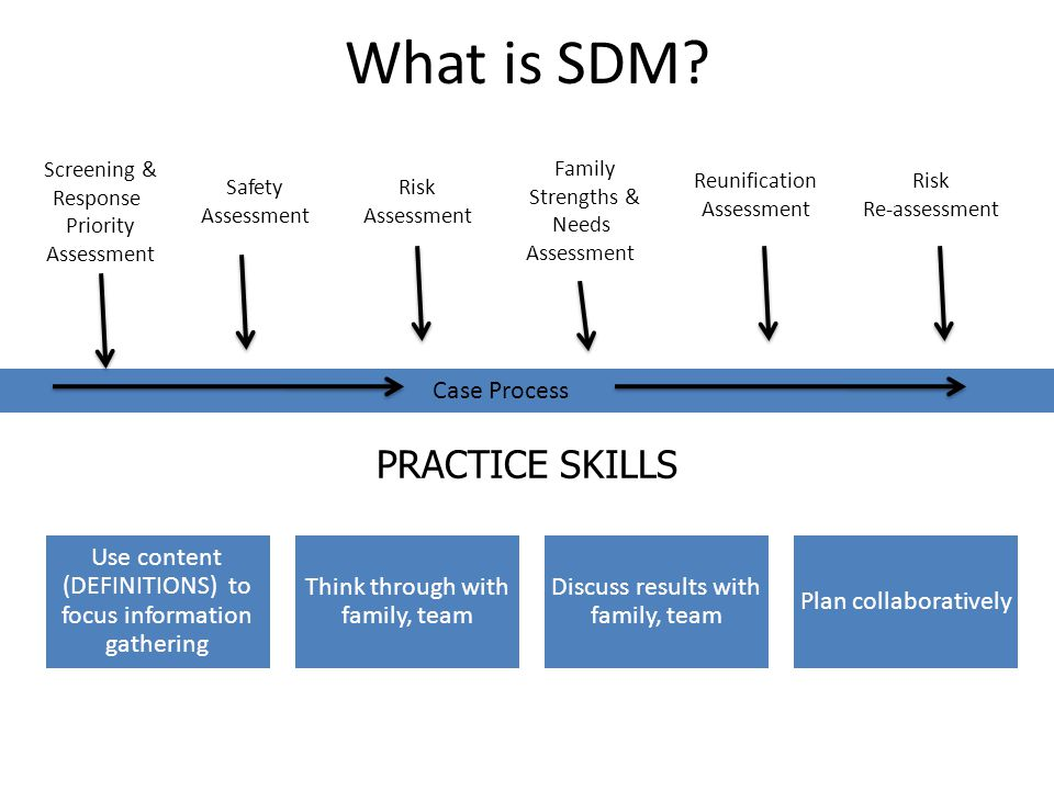 What is SDM PRACTICE SKILLS Case Process Screening & Response
