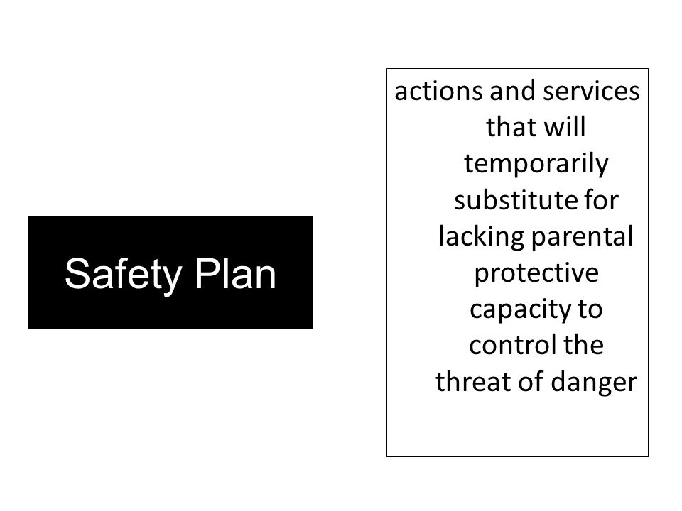 actions and services that will temporarily substitute for lacking parental protective capacity to control the threat of danger
