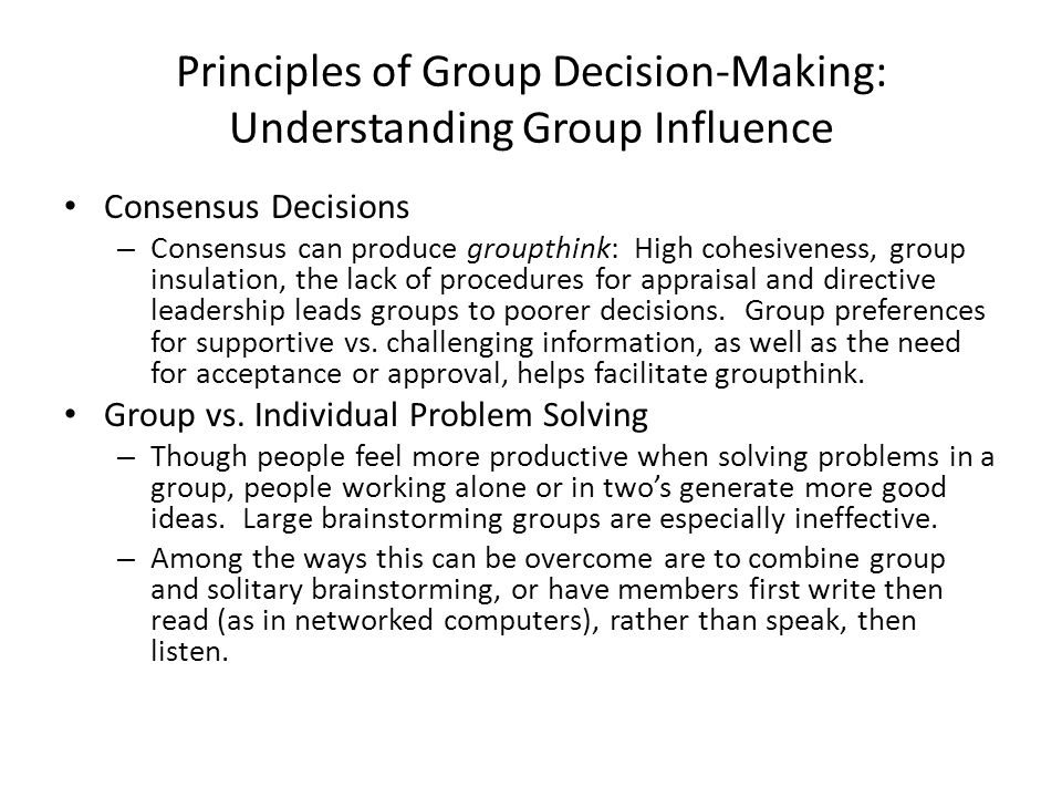 Principles of Group Decision-Making: Understanding Group Influence