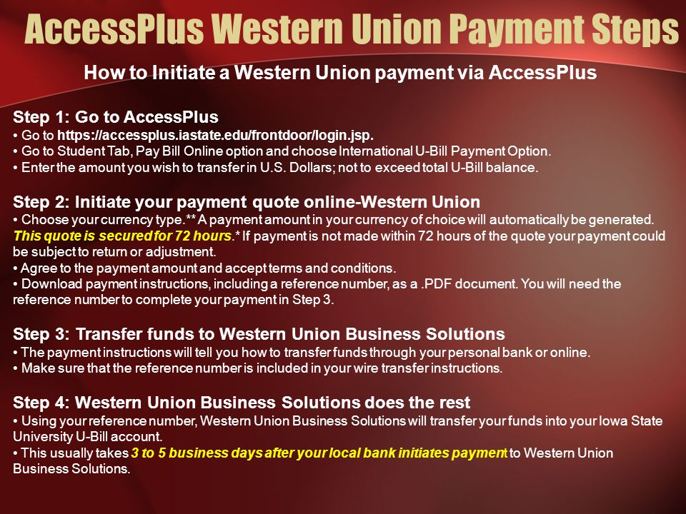 AccessPlus Western Union Payment Steps