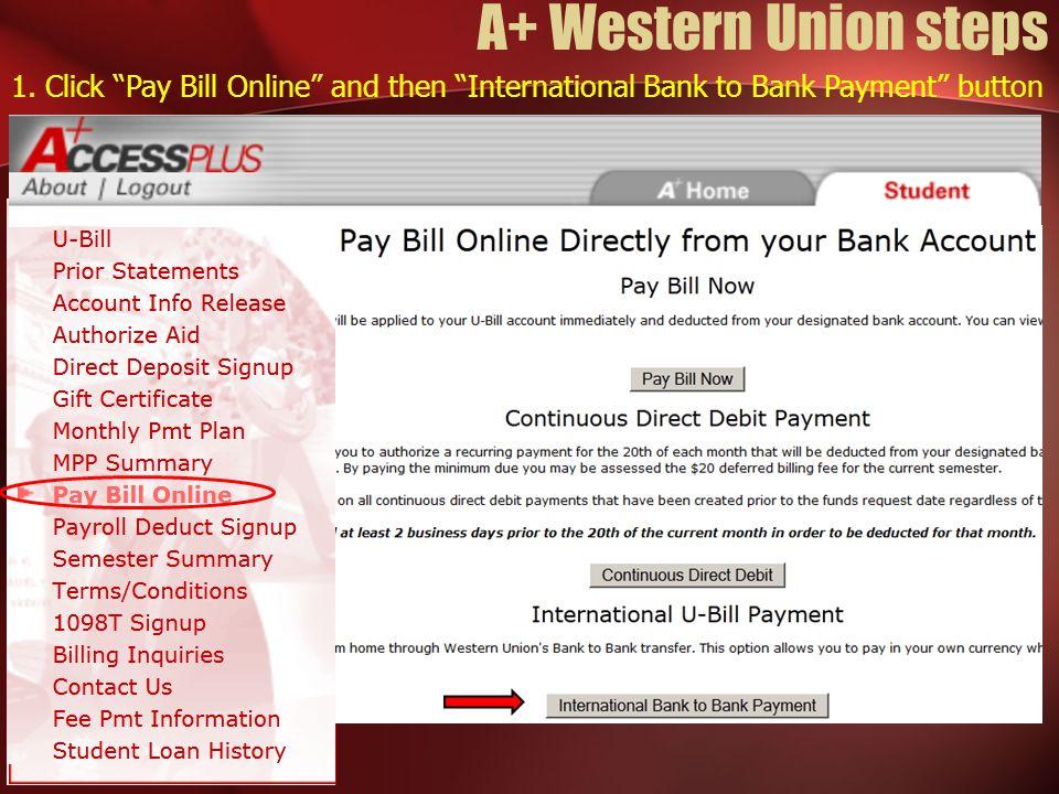 A+ Western Union steps 1.