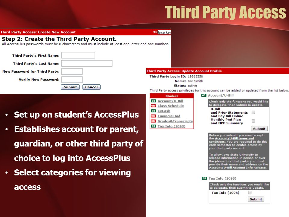 Third Party Access Set up on student's AccessPlus