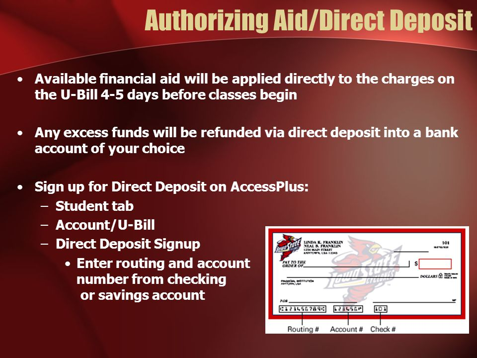 Authorizing Aid/Direct Deposit