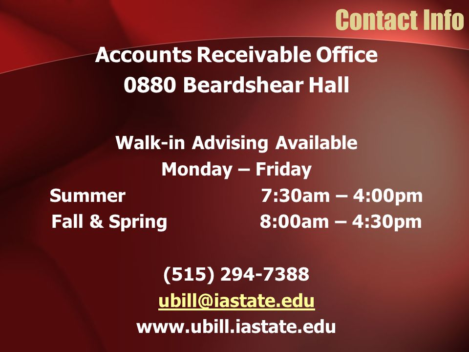 Accounts Receivable Office Walk-in Advising Available