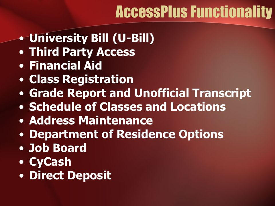 AccessPlus Functionality