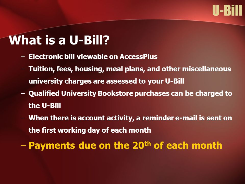U-Bill What is a U-Bill Payments due on the 20th of each month