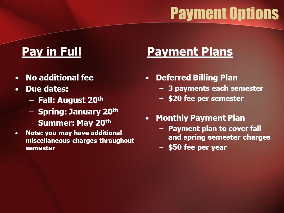 Payment Options Pay in Full Payment Plans No additional fee Due dates: