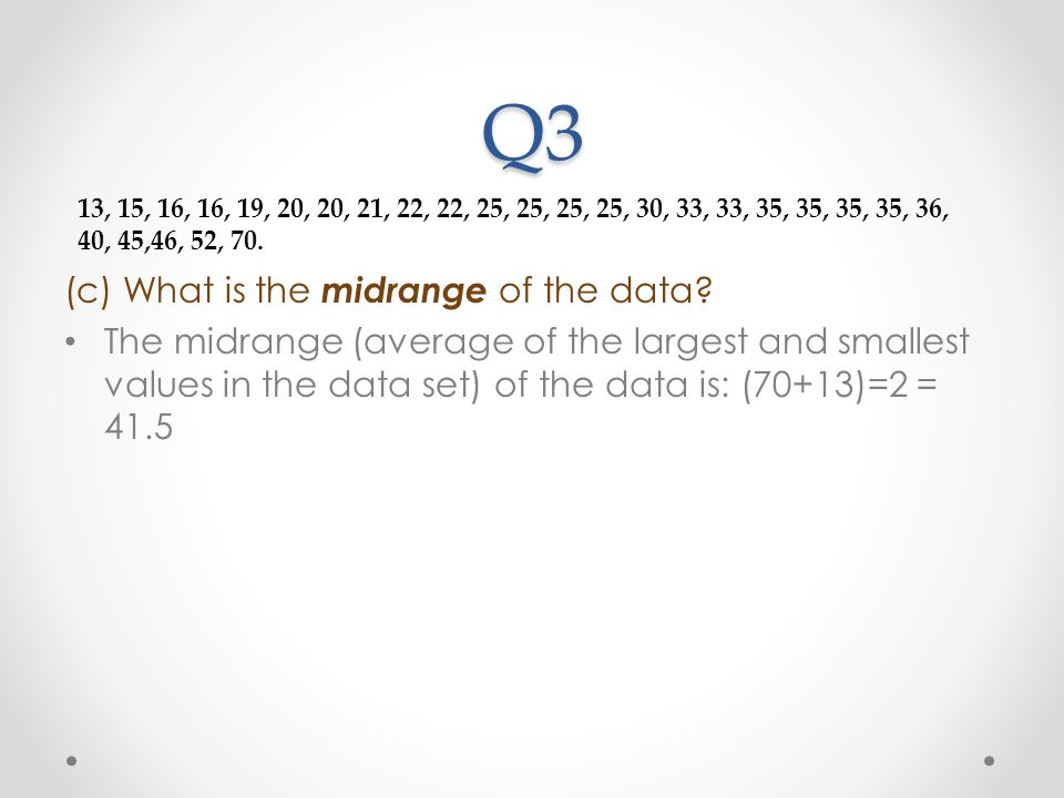 Q3 (c) What is the midrange of the data