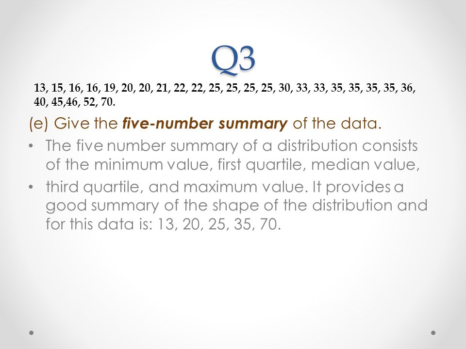 Q3 (e) Give the five-number summary of the data.