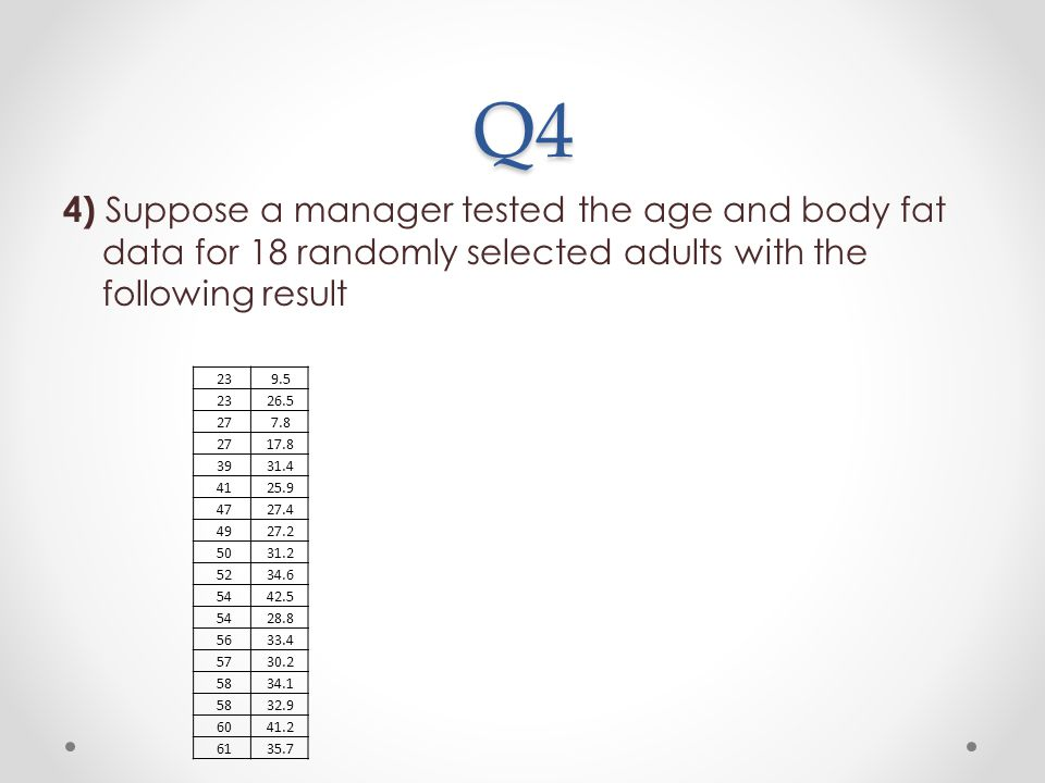 Q4 4) Suppose a manager tested the age and body fat data for 18 randomly selected adults with the following result.