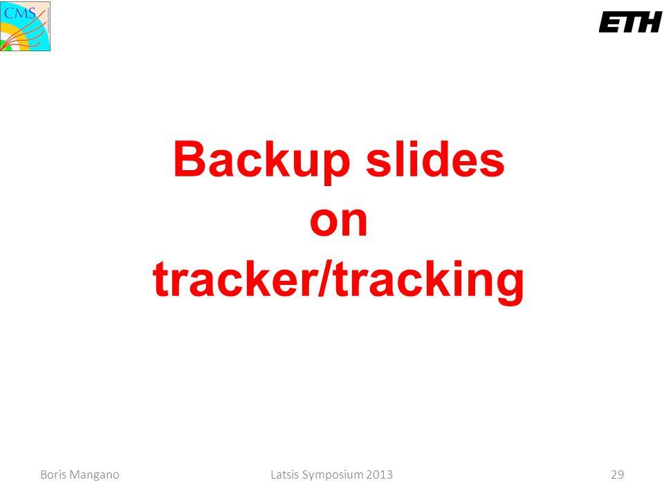 Backup slides on tracker/tracking