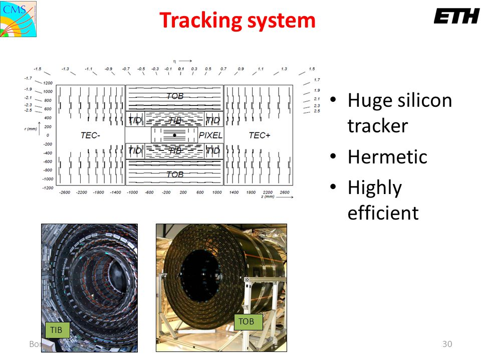 Tracking system Huge silicon tracker Hermetic Highly efficient TOB TIB