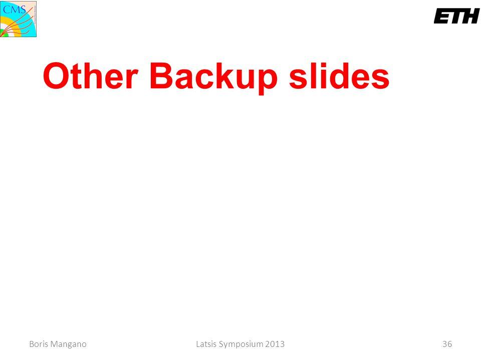Other Backup slides Boris Mangano Latsis Symposium 2013