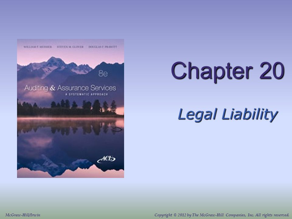 Chapter 20 Legal Liability McGraw-Hill/Irwin