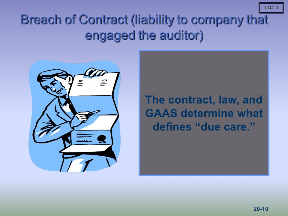Breach of Contract (liability to company that engaged the auditor)