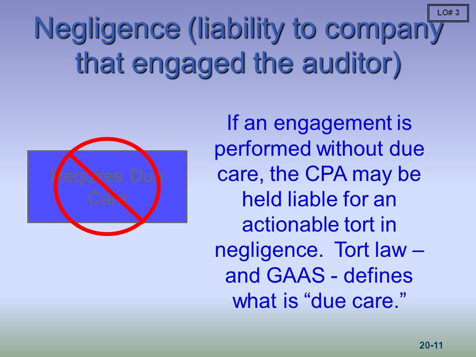 Negligence (liability to company that engaged the auditor)